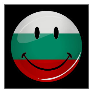 Glossy Round Smiling Bulgarian Flag Poster