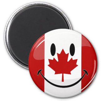 Glossy Round Smiling Canadian Flag 2 Inch Round Magnet