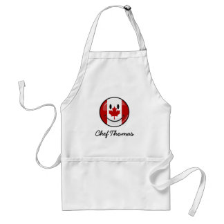 Glossy Round Smiling Canadian Flag Adult Apron