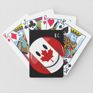 Glossy Round Smiling Canadian Flag Bicycle Playing Cards