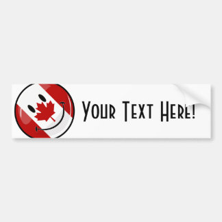 Glossy Round Smiling Canadian Flag Bumper Sticker
