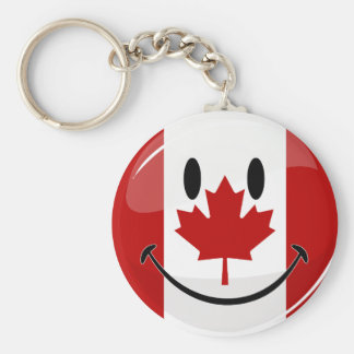 Glossy Round Smiling Canadian Flag Basic Round Button Keychain
