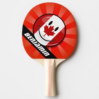 Glossy Round Smiling Canadian Flag Ping-Pong Paddle