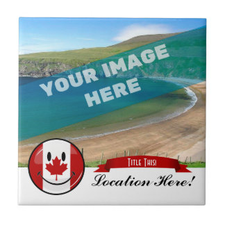 Glossy Round Smiling Canadian Flag Tile