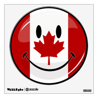 Glossy Round Smiling Canadian Flag Wall Decal