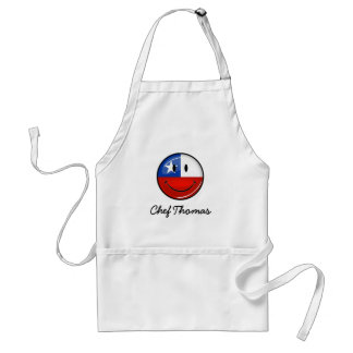 Glossy Round Smiling Chilean Flag Adult Apron