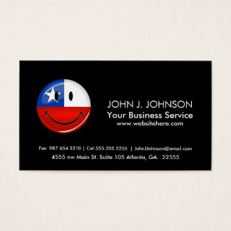 Glossy Round Smiling Chilean Flag Business Card