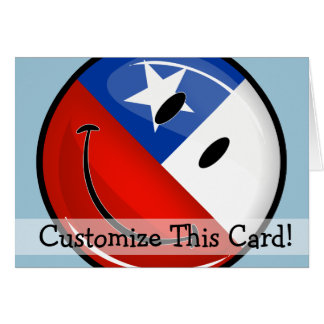 Glossy Round Smiling Chilean Flag Card