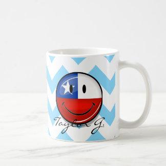 Glossy Round Smiling Chilean Flag Coffee Mug