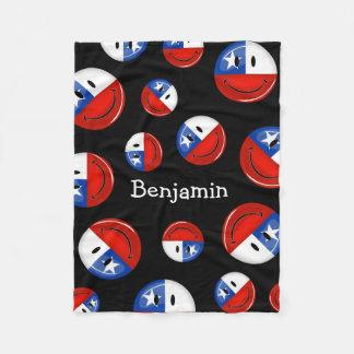 Glossy Round Smiling Chilean Flag Fleece Blanket
