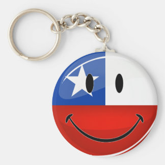 Glossy Round Smiling Chilean Flag Keychain