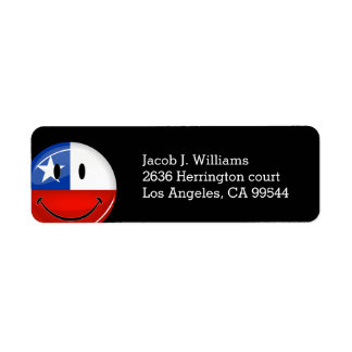 Glossy Round Smiling Chilean Flag Label