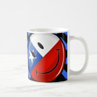 Glossy Round Smiling Chilean Flag Classic White Coffee Mug