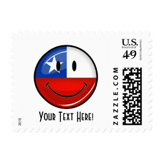 Glossy Round Smiling Chilean Flag Postage