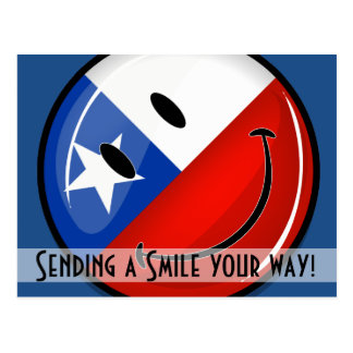 Glossy Round Smiling Chilean Flag Postcard