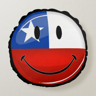 Glossy Round Smiling Chilean Flag Round Pillow