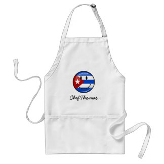 Glossy Round Smiling Cuban Flag Adult Apron