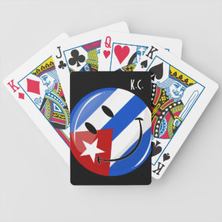 Glossy Round Smiling Cuban Flag Bicycle Playing Cards