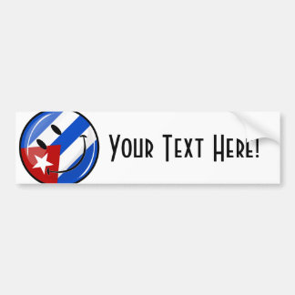 Glossy Round Smiling Cuban Flag Bumper Sticker