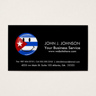Glossy Round Smiling Cuban Flag Business Card