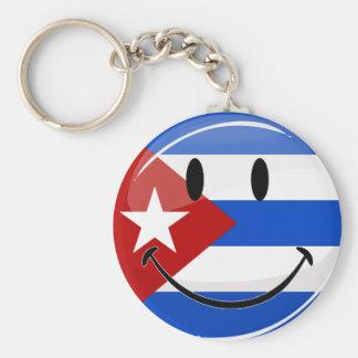 Glossy Round Smiling Cuban Flag Keychain