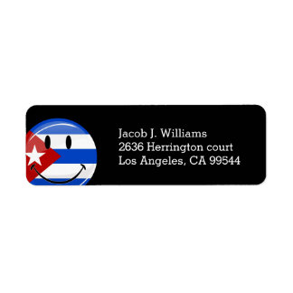 Glossy Round Smiling Cuban Flag Label