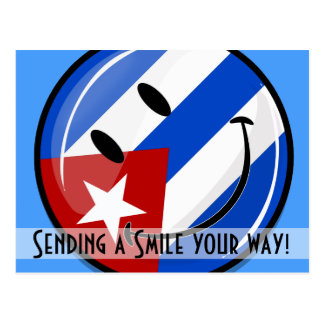 Glossy Round Smiling Cuban Flag Postcard