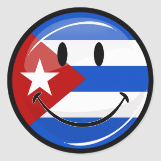Glossy Round Smiling Cuban Flag Classic Round Sticker