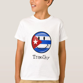 Glossy Round Smiling Cuban Flag T-Shirt