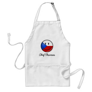 Glossy Round Smiling Czech Rep. Flag Adult Apron