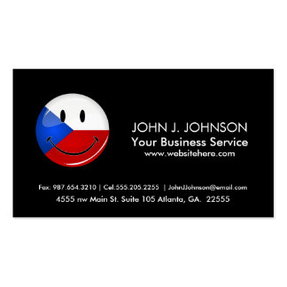 Glossy Round Smiling Czech Rep. Flag Pack Of Standard Business Cards