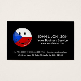 Glossy Round Smiling Czech Rep. Flag Business Card