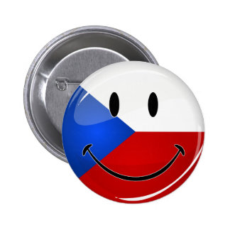 Glossy Round Smiling Czech Rep. Flag 2 Inch Round Button