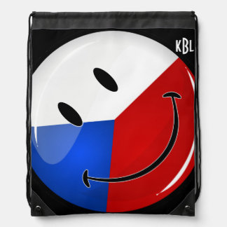 Glossy Round Smiling Czech Rep. Flag Drawstring Backpack