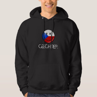 Glossy Round Smiling Czech Rep. Flag Hoodie