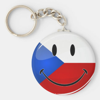 Glossy Round Smiling Czech Rep. Flag Keychain