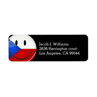 Glossy Round Smiling Czech Rep. Flag Label