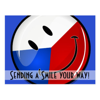 Glossy Round Smiling Czech Rep. Flag Postcard