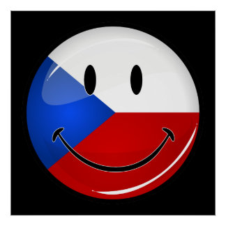 Glossy Round Smiling Czech Rep. Flag Poster