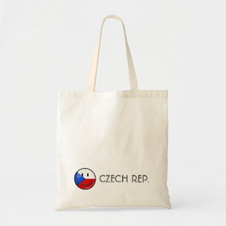 Glossy Round Smiling Czech Rep. Flag Tote Bag