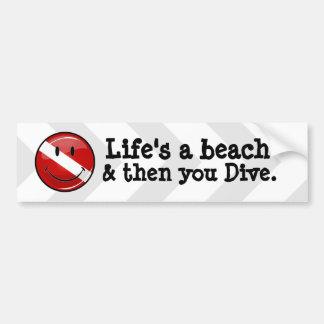 Glossy Round Smiling Diver Flag Bumper Sticker