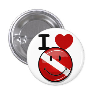 Glossy Round Smiling Diver Flag Pinback Buttons