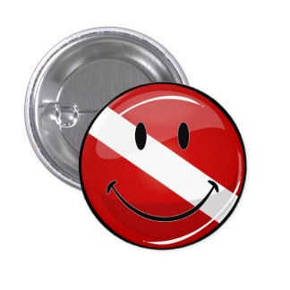 Glossy Round Smiling Diver Flag Pin