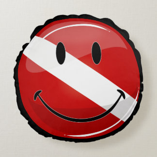Glossy Round Smiling Diver Flag Round Pillow
