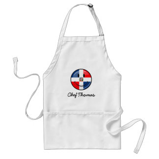 Glossy Round Smiling Dominican Flag Adult Apron