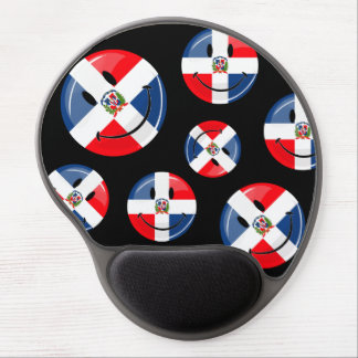 Glossy Round Smiling Dominican Flag Gel Mouse Pad