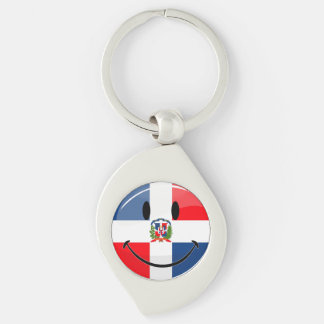 Glossy Round Smiling Dominican Flag Keychain