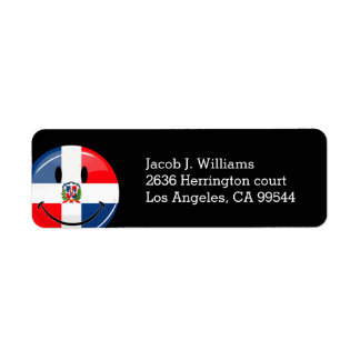 Glossy Round Smiling Dominican Flag Label