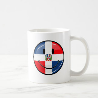 Glossy Round Smiling Dominican Flag Classic White Coffee Mug