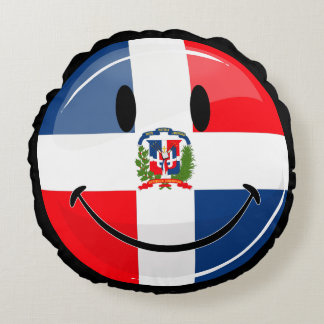 Glossy Round Smiling Dominican Flag Round Pillow